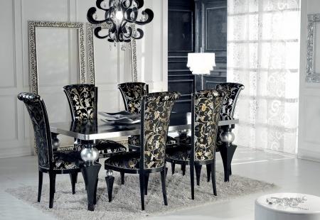 Eleganckie krzesła tapicerowane czarno srebrne go jadalni w stylu Glamour