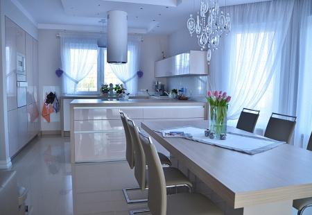 meble kuchenne łężyca Nowoczesna kuchnia w połysku od Mazur Obuchowicz